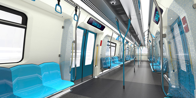 inside a MRT coach
