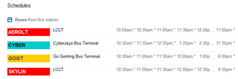 Google Maps bus times at KL Sentral