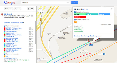 Google Maps train times at KL Sentral