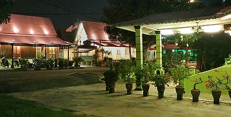Kampung houses at night