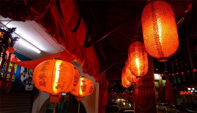 lanterns at night