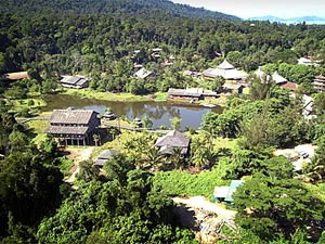 Sarawak Cultural Village, Sarawak Cultural Village is tucked away on the foothills of Mount Santubong at Damai Beach, 35 km north from Kuching. It is also known as a living museum.