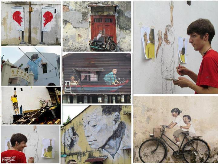 collage of Ernest Zacharevic's work