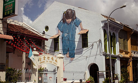 finished wall painting at Muntre 47, George Town, Malaysia