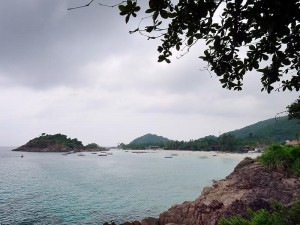 Pulau Redang,  view of Long Beach from the rocks at the northern end