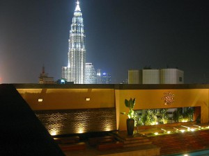 Luna Bar,  View over to the Twin Towers