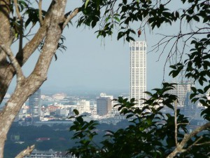 Georgetown / Penang,  downtown view from a hill