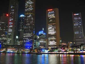 {Singapore,  Business District and Boat Qay