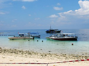 Sipadan / Mabul Island,  boats at the beach