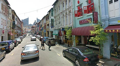 Temple Street, Chinatown Singapore, google street view