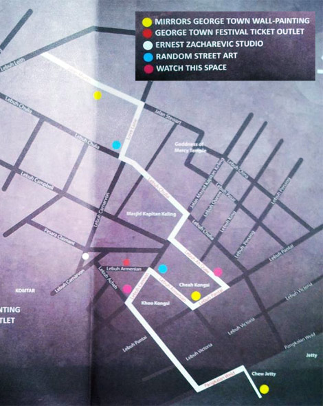 location map of penang street art