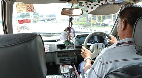 inside a taxi in Malaysia