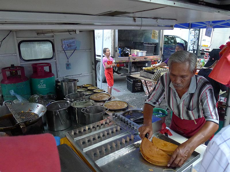 lorry converted into an Apam Balik stall