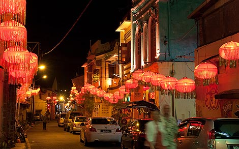 street decorated for Chinese New Year, Melaka