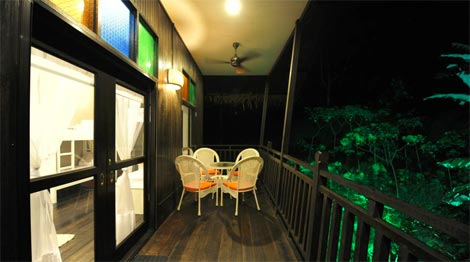 veranda view at night