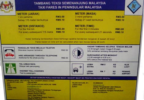 taxi charges in Malaysia